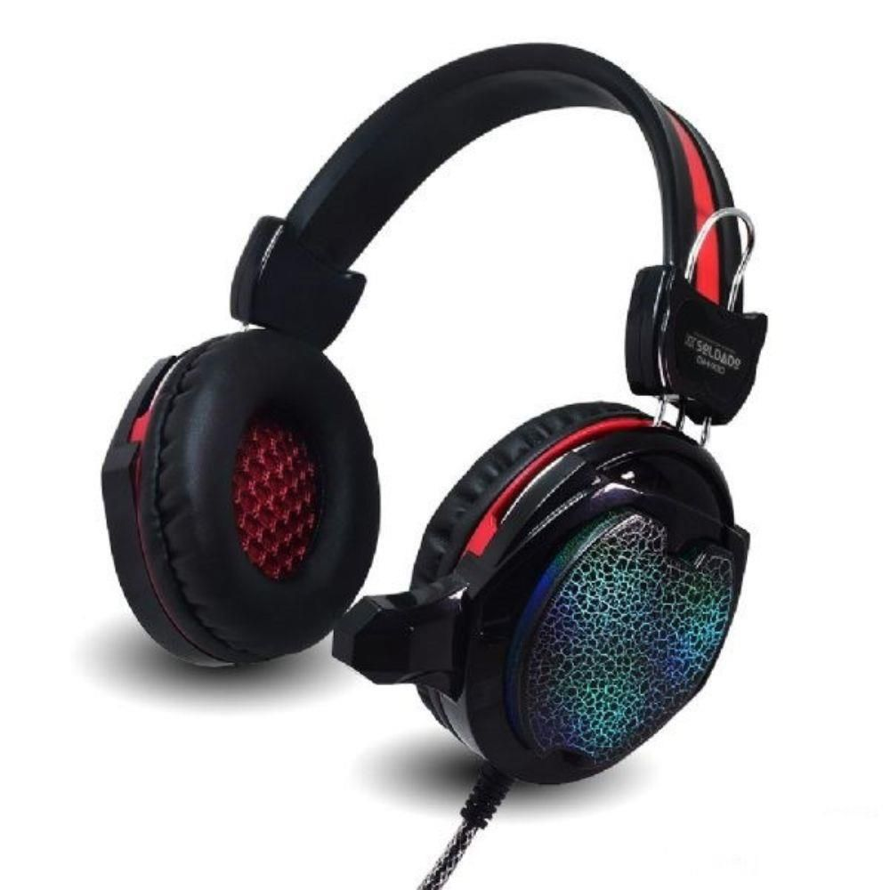 HEADFONE GAMER VERMELHO COM MICROFONE LUZ LED COLORIDO CABO REFORCADA REVESTIDO SILICONE INFOKIT GH-X30