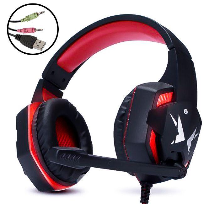 HEADFONE GAMER vermelho USB COM MICROFONE LED ILUMINACAO E CONTROLE DE VOLUME EXBOM HF-G600