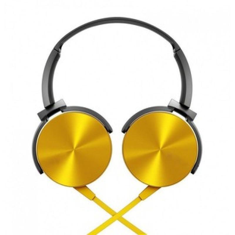 Headphone Estéreo Extra Bass Com Microfone XTRAD LC-834 Dourado