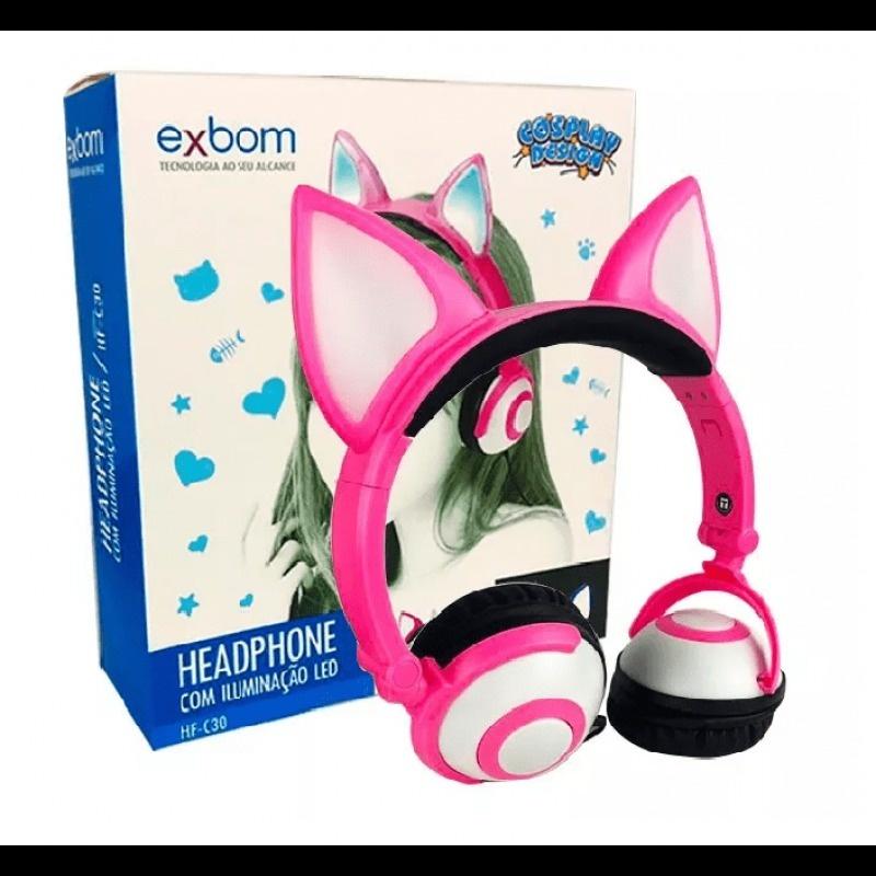 HEADPHONE FOX COSPLAY ROSA COM PISCA DE LED PARA JOGOS E MUSICA EXBOM HF-C30 P2