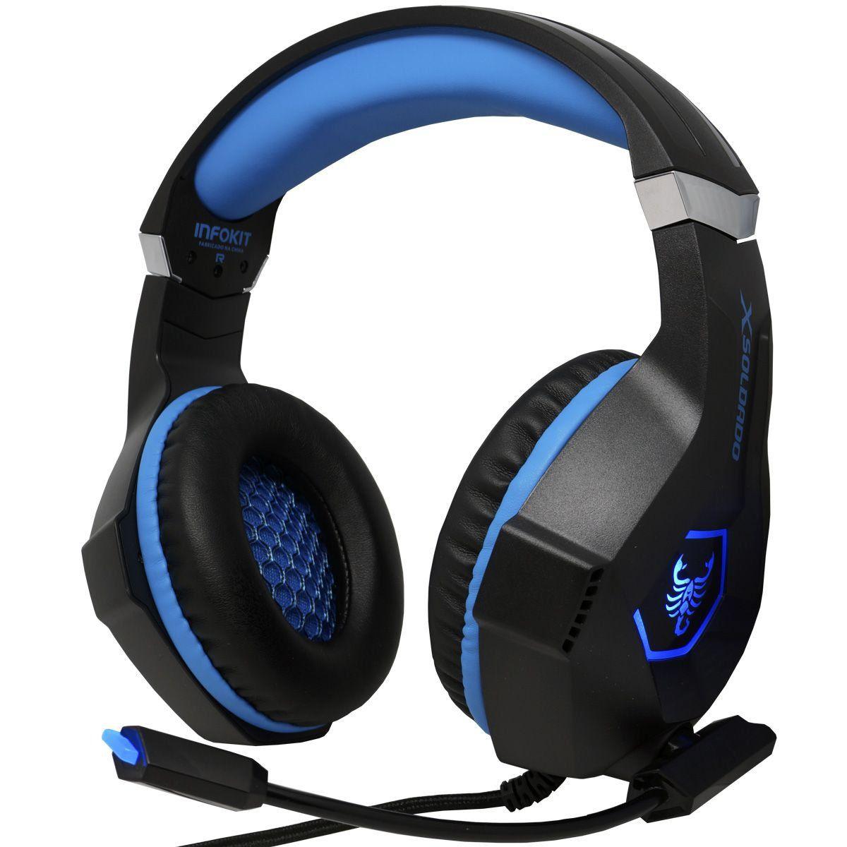 Headphone Gamer Scorpion bass AZUL PS4/PC/SMARTPHONE microfone articulado LED RGB INFOKIT GH-X1000
