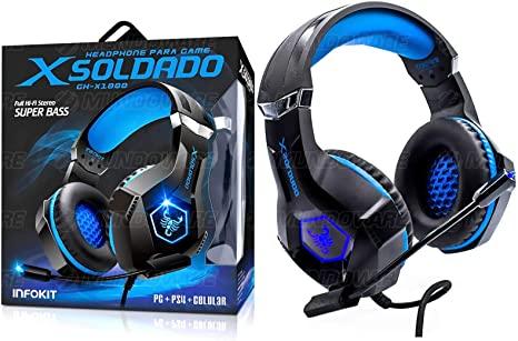FONE HEADSET PS4/PC/SMARTPHONE/XBOX ONE MIC ARTICULADO RGB INFOKIT GH-X1000 AZUL