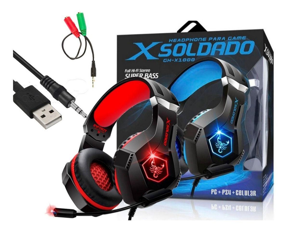 Headphone Gamer Scorpion bass VERMELHO PS4/PC/SMARTPHONE microfone articulado LED RGB INFOKIT GH-X1000