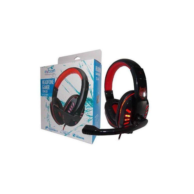 HEADSET GAMER P3 PS4 XBOX ONE C/ MICROFONE USB PARA LED EXBOM HF-G310P4 VERMELHO