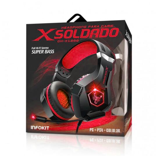 HEADSET PS4/PC/SMARTPHONE/XBOX ONE MIC ARTICULADO RGB INFOKIT GH-X1000 VERMELHO