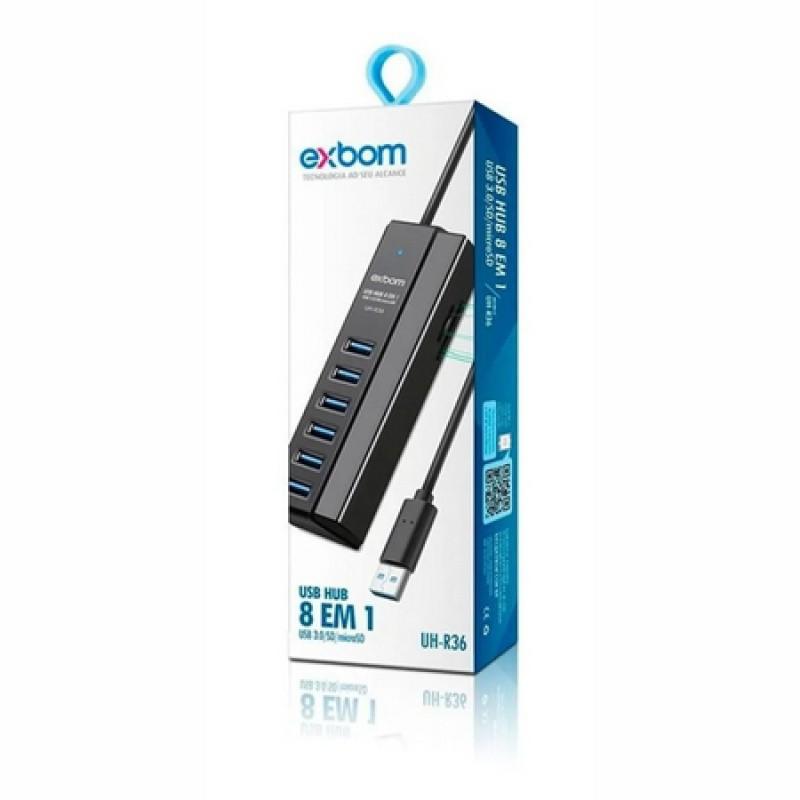 HUB USB 3.0 COMBO 8 EM 1 COM 6 PORTAS E 2 PORTA LEITOR DE CARTAO SD/MICRO EXBOM / UH-R36