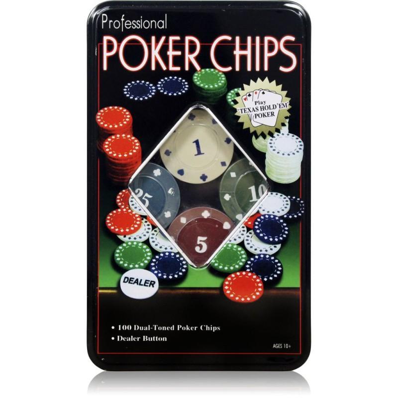 Jogo De Poker Profissional Lata Com 100 Fichas E Dealer MB87053