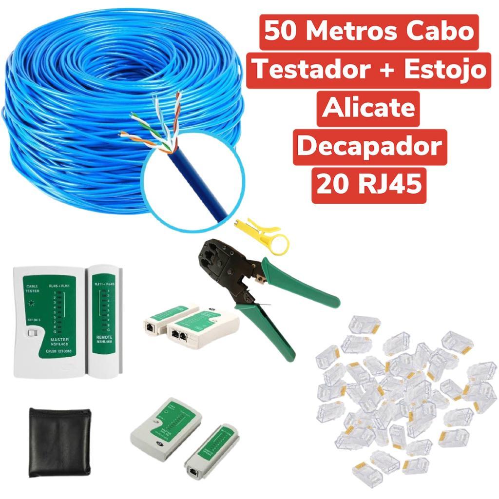 KIT CABO DE REDE 50M AZUL + ALICATE RJ45RJ11 + TESTADOR + 20RJ45