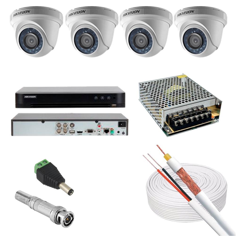KIT CFTV 4 CAMERAS 1080P FHD DOME DVR HIKVISION FONTE 10A CABO COAXIAL 80% MALHA P4 E BNC S/HD