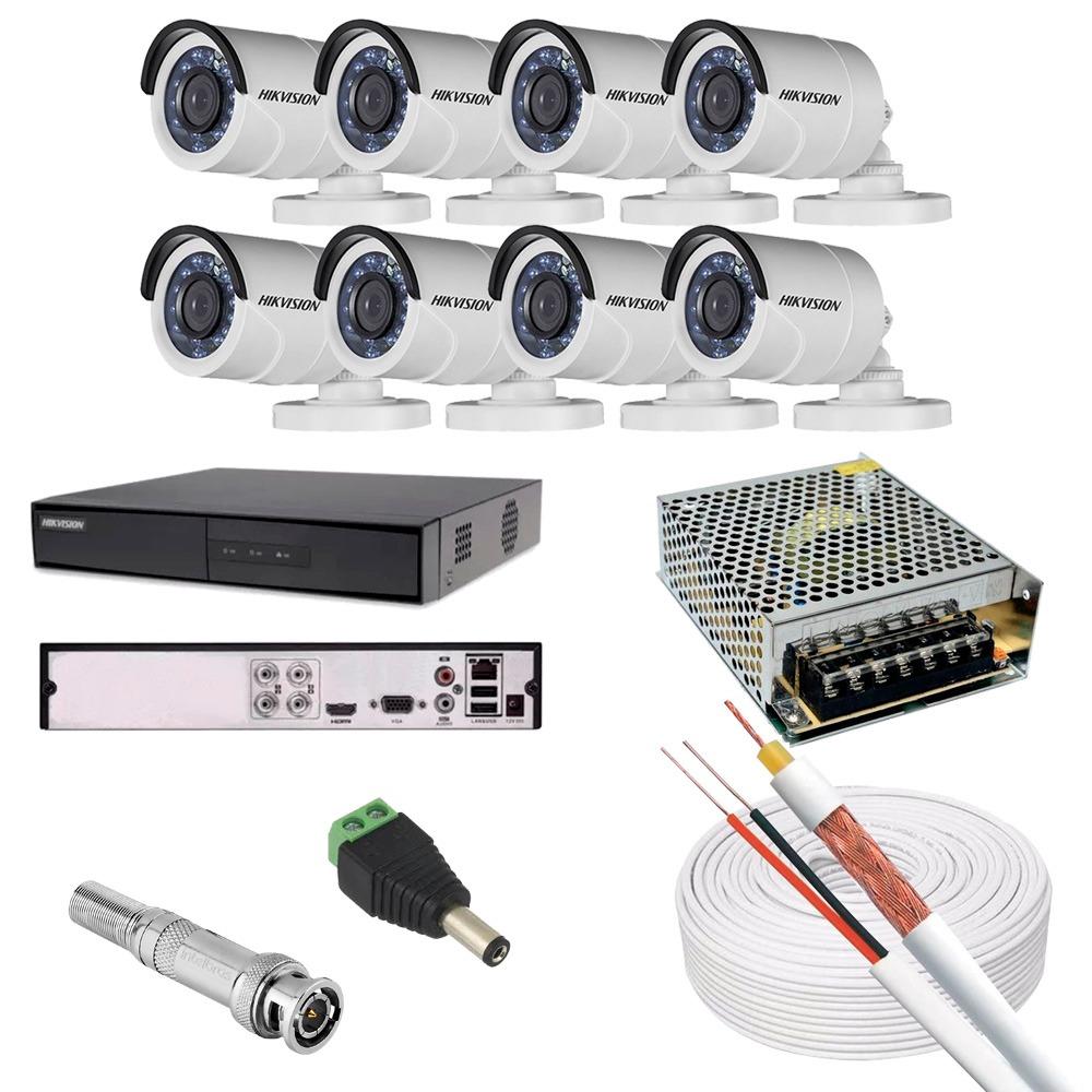 KIT CFTV 8 CAMERAS 720PHD BULLET DVR HIKVISION FONTE 15A CABO COAXIAL 80% MALHA P4 E BNC S/HD