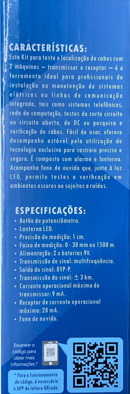 KIT LOCALIZADOR RASTRADOR DETECTOR DE LINHA E CABOS RJ 11 RJ45 EXBOM FEPRO-TC300