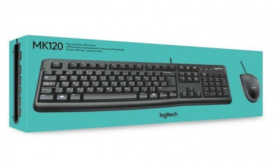 KIT MOUSE E TECLADO LOGITECH MK120 COM FIO USB PTO
