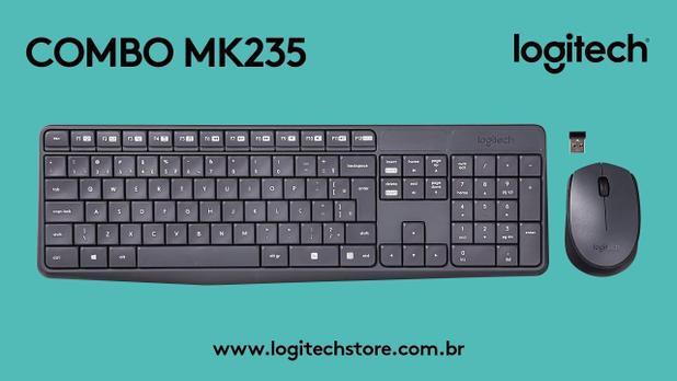KIT MOUSE E TECLADO LOGITECH MK235 SEM FIO PRETO