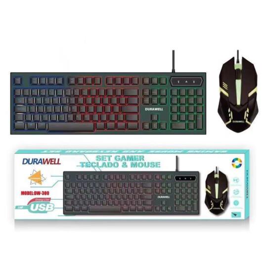 KIT TECLADO + MOUSE PARA COMPUTADOR COM FIO USB GAMER RGB DW-300