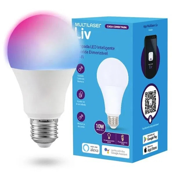 LAMPADA BULBO LED WI-FI 10W C/ DIMMER E MUDANÇA DE COR MULTILASER RGB SE224