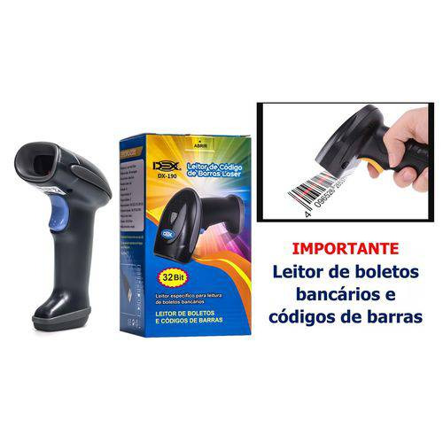 Leitor de Código Barras USB LASER Dex DX-190 (Boleto Bancário)