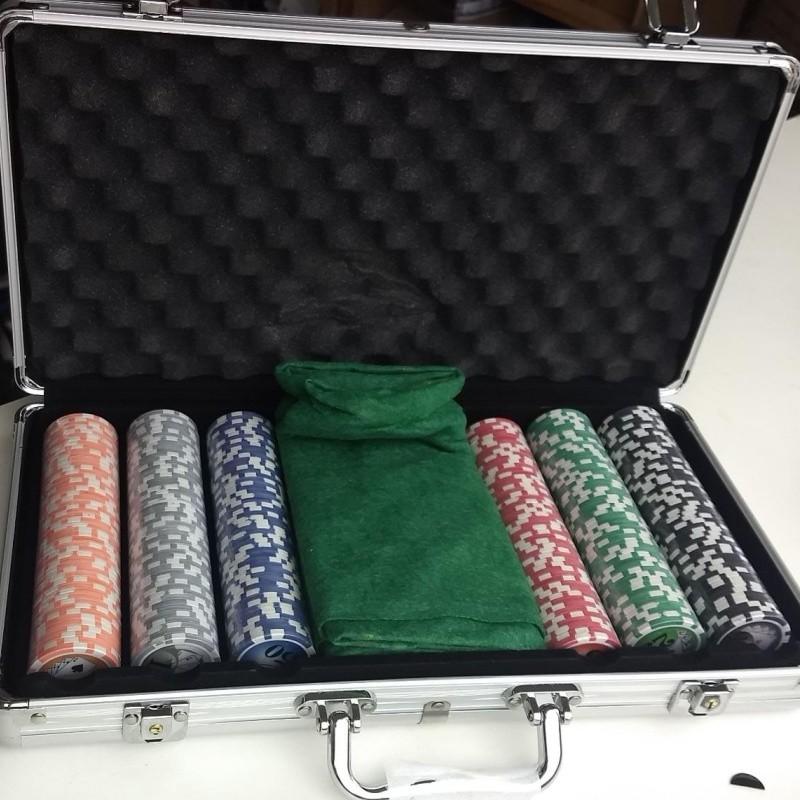 Maleta Kit Jogo Poker 300 Fichas Oficiais, Baralho, Dados com numeração