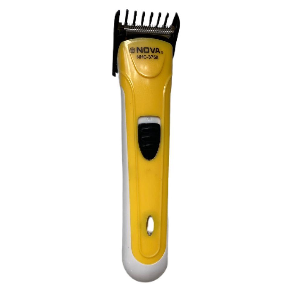 Máquina Aparadora de Barba e Cabelo Nova NHC 3758 Recarregavel Sem Fio Amarelo