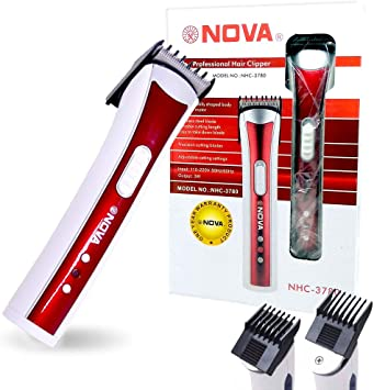 Máquina Aparadora de Barba e Cabelo Nova NHC 3780 Recarregavel Sem Fio Vermelho***