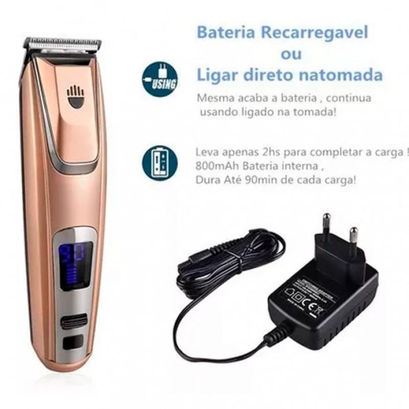 Máquina de Cortar Cabelo e Barba 4 Pentes Recarregável Profissional Kemei - KM-PG102