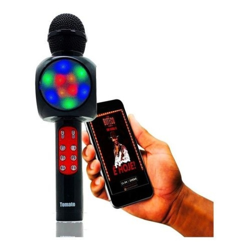 Microfone Bluetooth Sem Fio Karaokê Áudio Youtube Mt-1033 preto