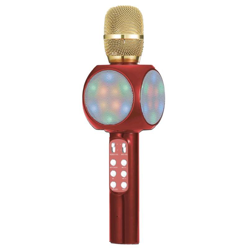 Microfone Bluetooth Sem Fio Karaokê Áudio Youtube Mt-1033 Vermelho Tomate