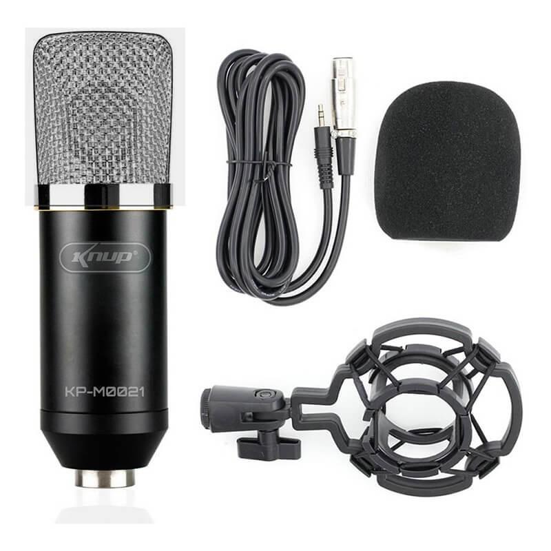 Microfone Knup Kp-m0021 Profissional Condensador Estúdio Anti Vibração