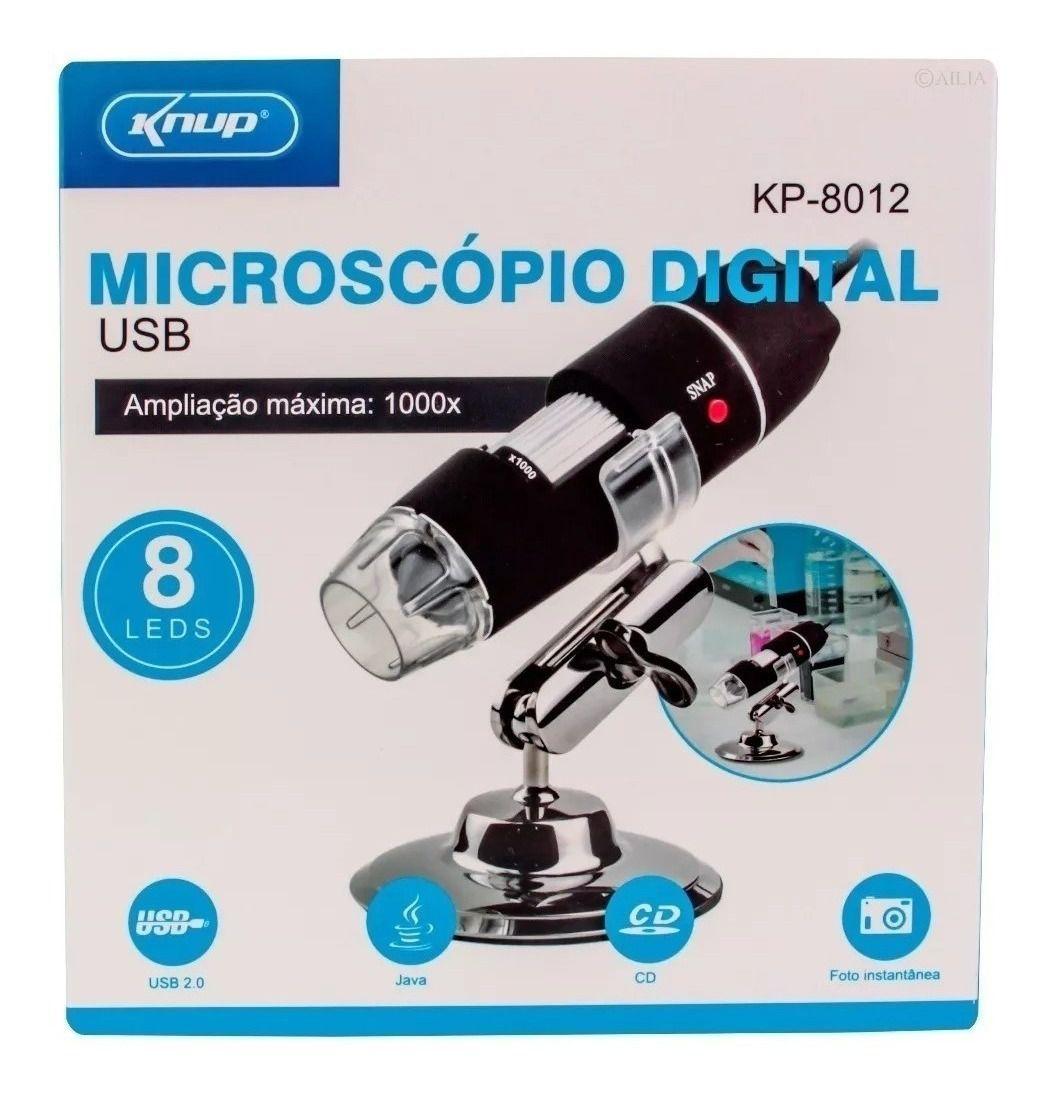 Microscopio Digital Usb 1000x Knup Kp-8012 Camera 8 Leds