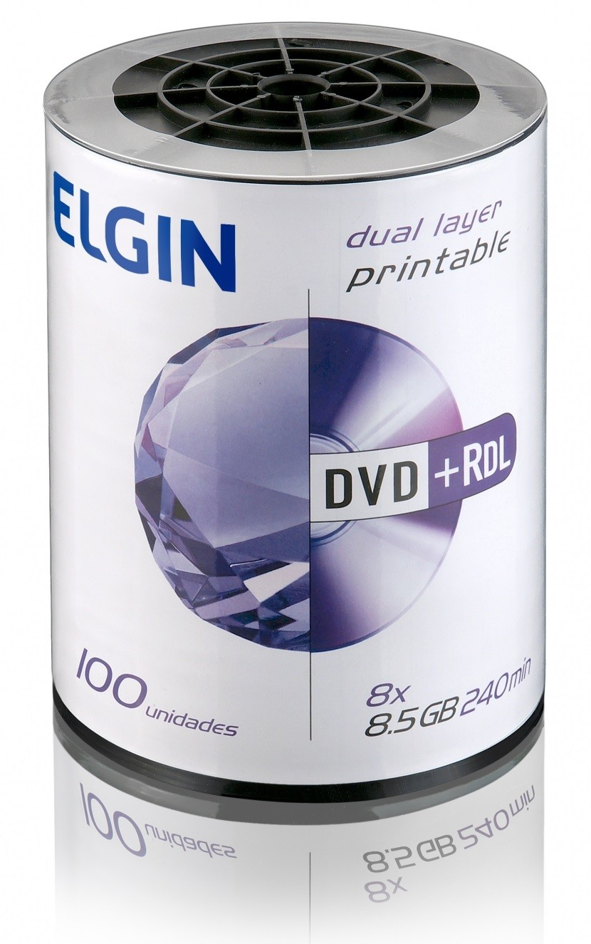 Mídia Dvd+Rdl Elgin 8.5 Gb Dual Layer Printable Com 100