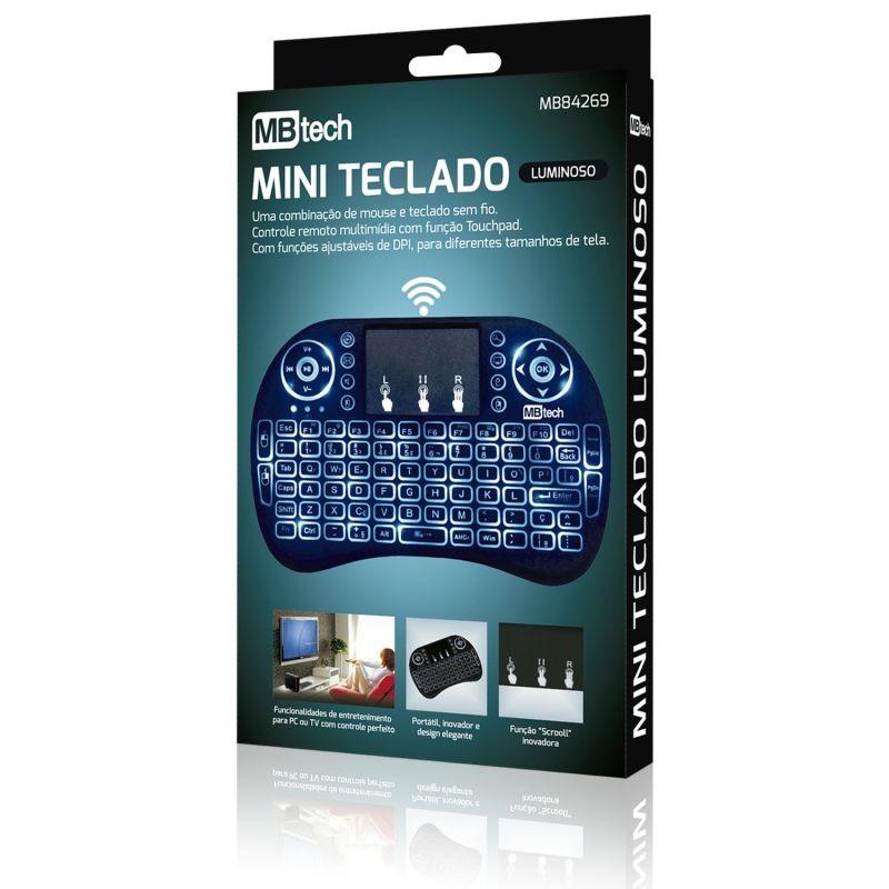 MINI TECLADO WIRELESS COM ILUMINAÇÃO LED MB84269