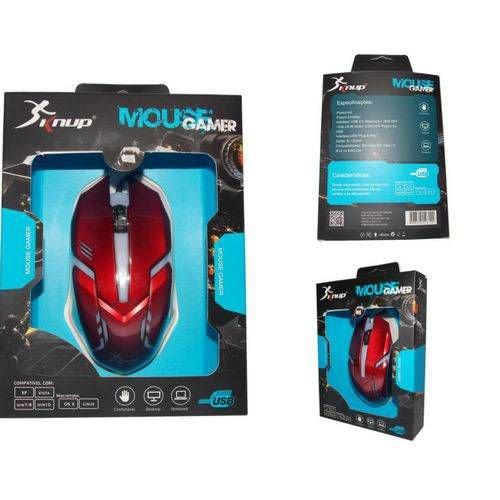 Mouse Gamer Led 1600 Dpi 3 Botões Knup  Kp-v15 Vermelho
