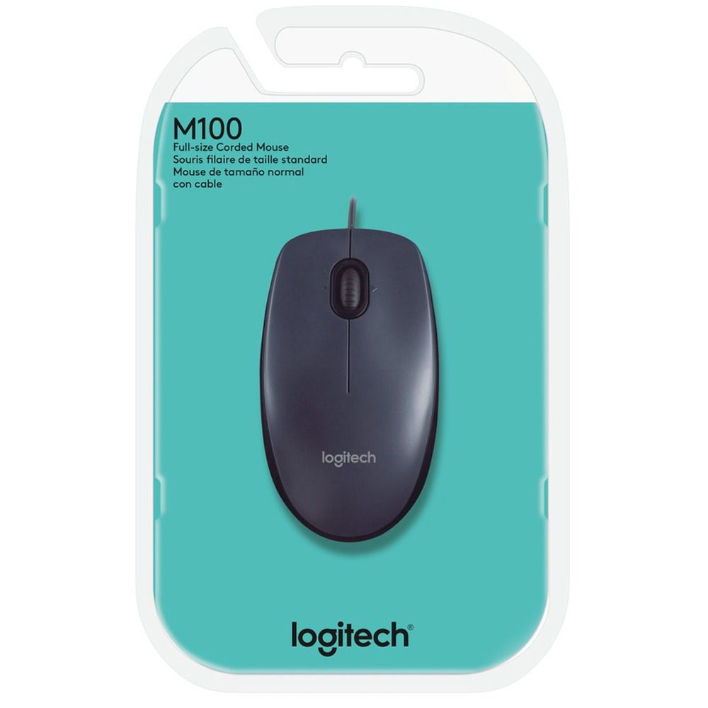 Mouse Optico Usb Preto 1000dpi Logitech M100