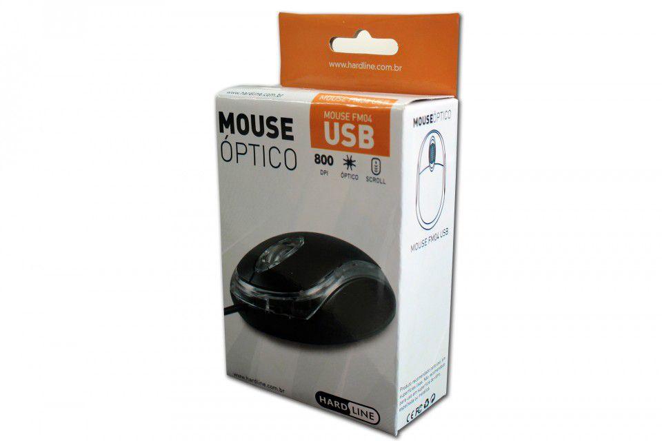 MOUSE OPTICO USB PRETO HARDLINE FM-04 2040100100