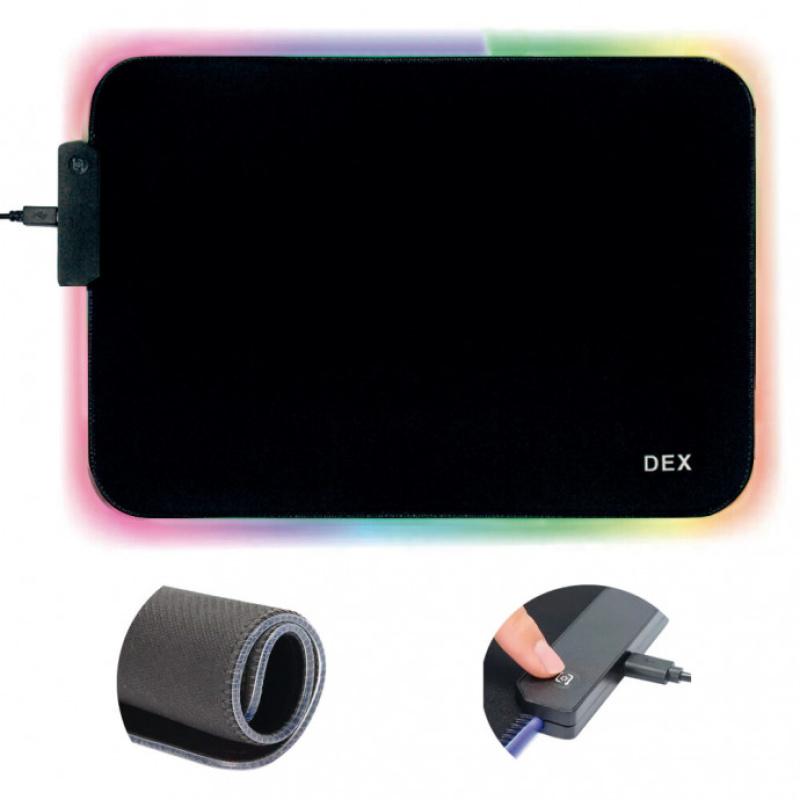 Mouse Pad Gamer Led 14 Efeitos Dex Ry-2535 Com Led Rgb Usb 35,5cm x 25,5cm