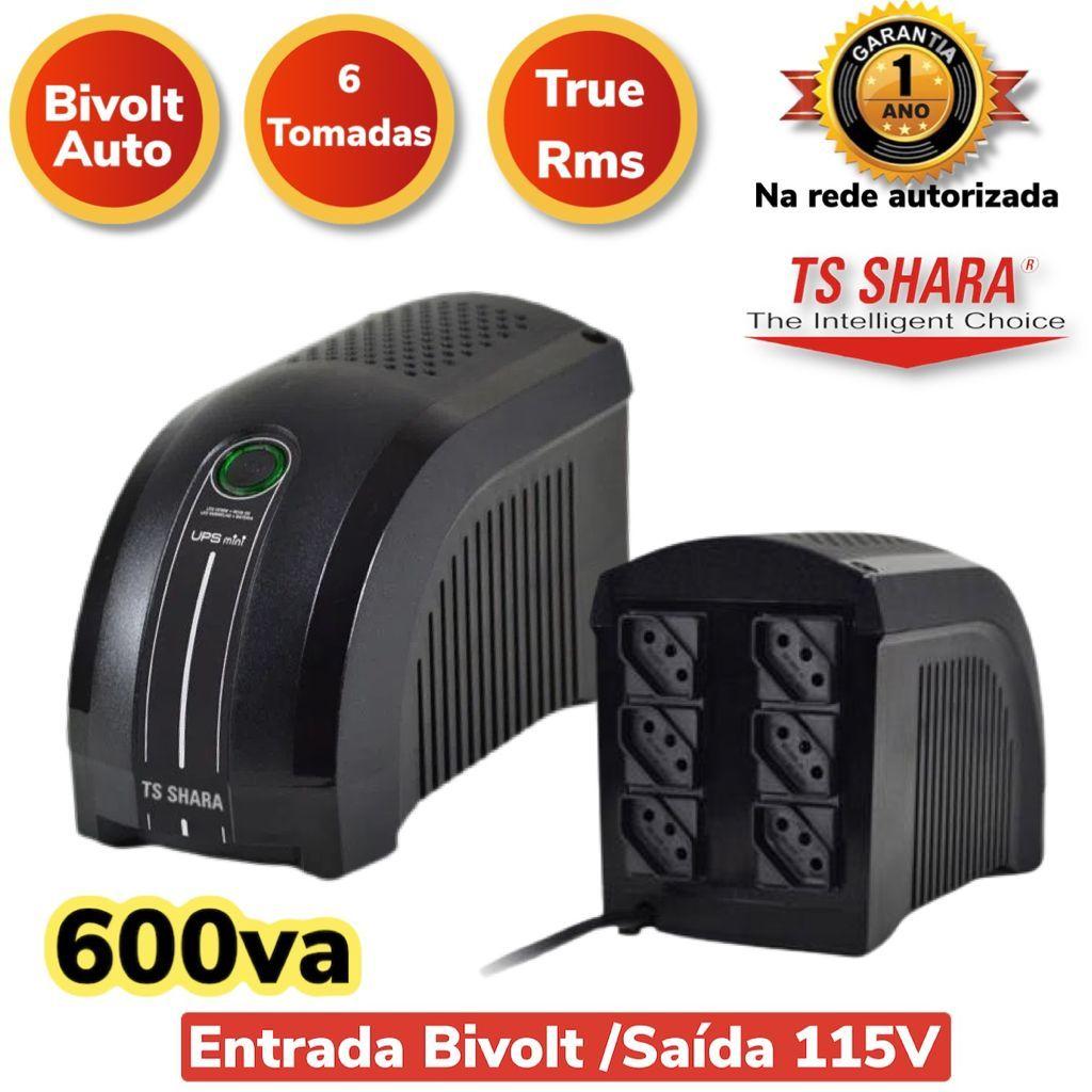 Nobreak Ups Mini 600va Bivolt/115v 4003 Ts Shara 6 Tomadas