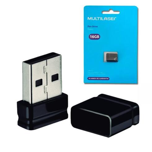 PEN DRIVE 16 GB NANO PRETO USB 2.0 PD054 MULTILASER