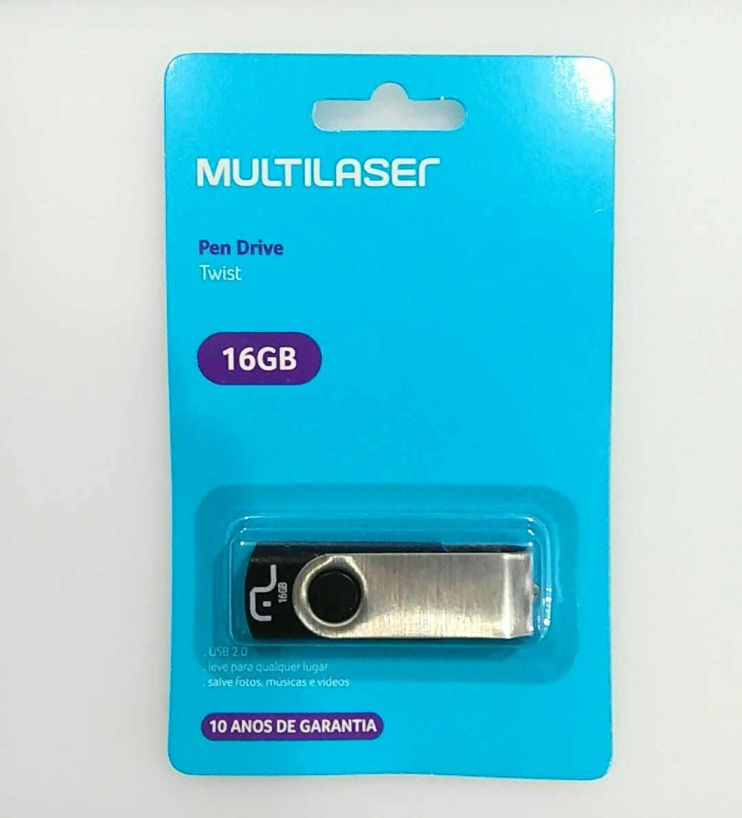 PEN DRIVE 16 GB PRETO TWIST USB 2.0 PD588 MULTILASER