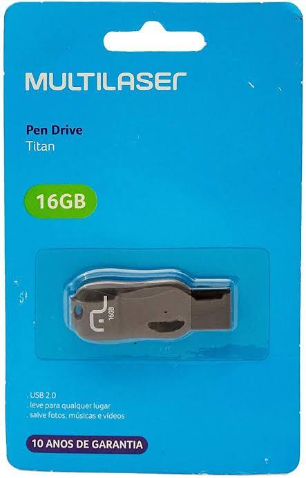 PEN DRIVE 16 GB TITAN PRETO USB 2.0 PD602 MULTILASER