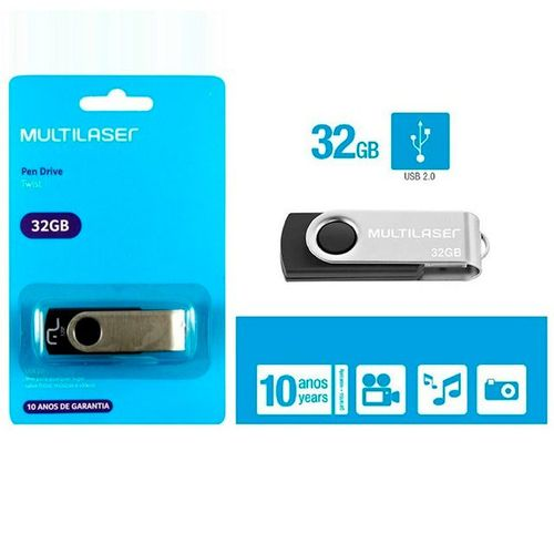 PEN DRIVE 32 GB TWIST PRETO USB 2.0 PD589 MULTILASER