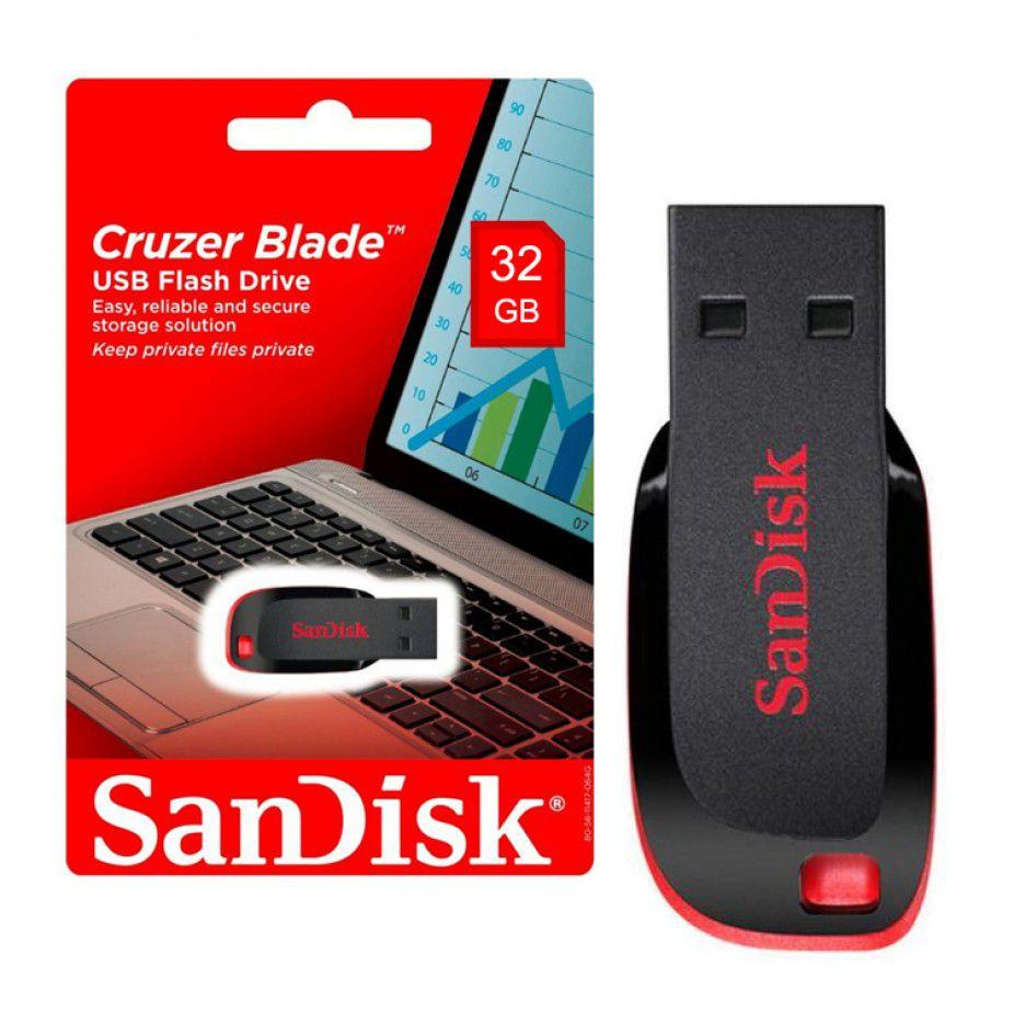 Pen Drive 32gb Sandisk Cruzer Blade Lacrado Original