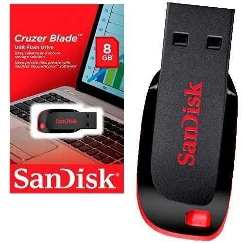 Pen Drive 8gb Sandisk Cruzer Blade Lacrado Original
