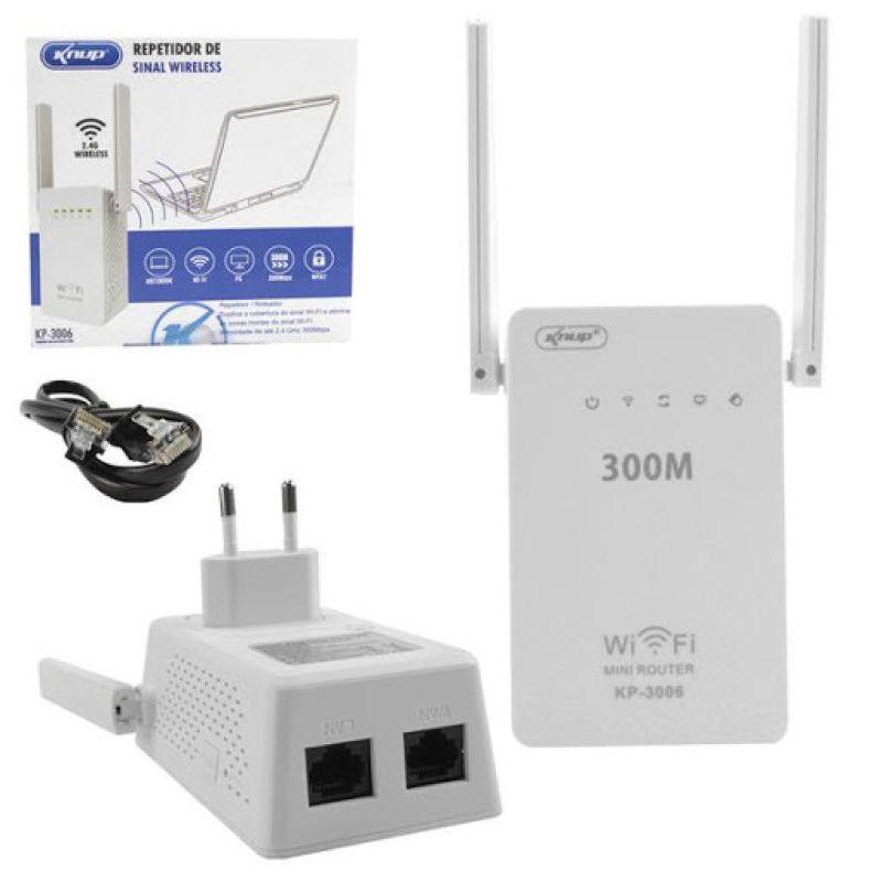 Repetidor de Sinal Wireless com 2 Antenas Externas 300Mbps WiFi Branco Kp-3006 Knup