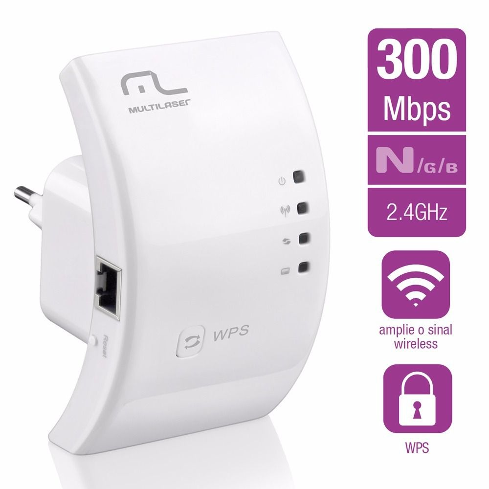 REPETIDOR DE SINAL WIRELESS N 300 Mbps RE055 MULTILASER