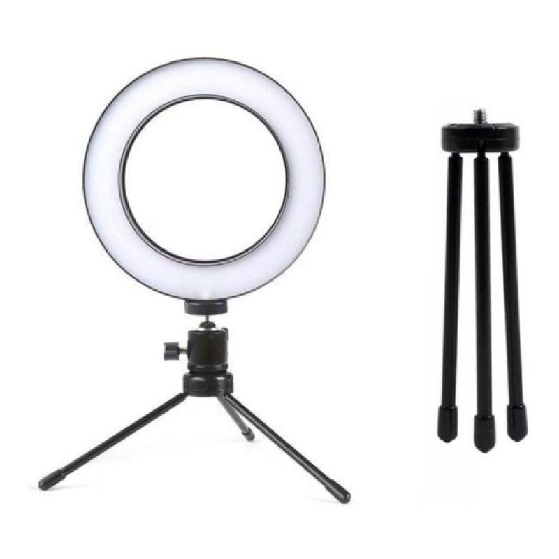 RING LIGHT DE LED 6 POLEGADAS PARA FOTO E VIDEO 48 LEDS DIMELIZAVEL 3200K A 5600K COM TRIPE ZL-06 ILUMINADOR 03318