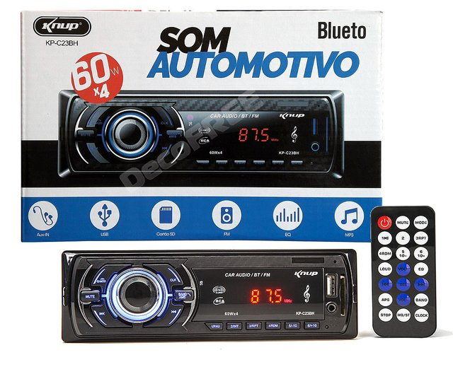 Som Mp3 Radio Automotivo Bluetooth 60w X 4 Knup Kp-c23bh