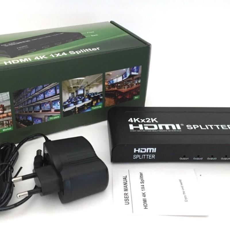 Splitter Distribuidor Hdmi 1x4 Divisor Full Hd 1.4 3d 4k 2k HS14 com Fonte