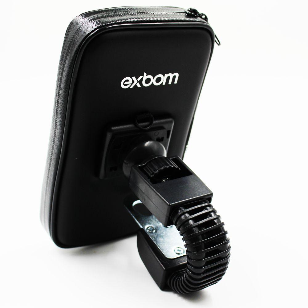 SUPORTE CASE PERMEAVEL DE MOTO PARA SMARTPHONE ATE 6.3 POLEGADAS FIXACAO RETROVISOR DO MOTO EXBOM SP-C23L
