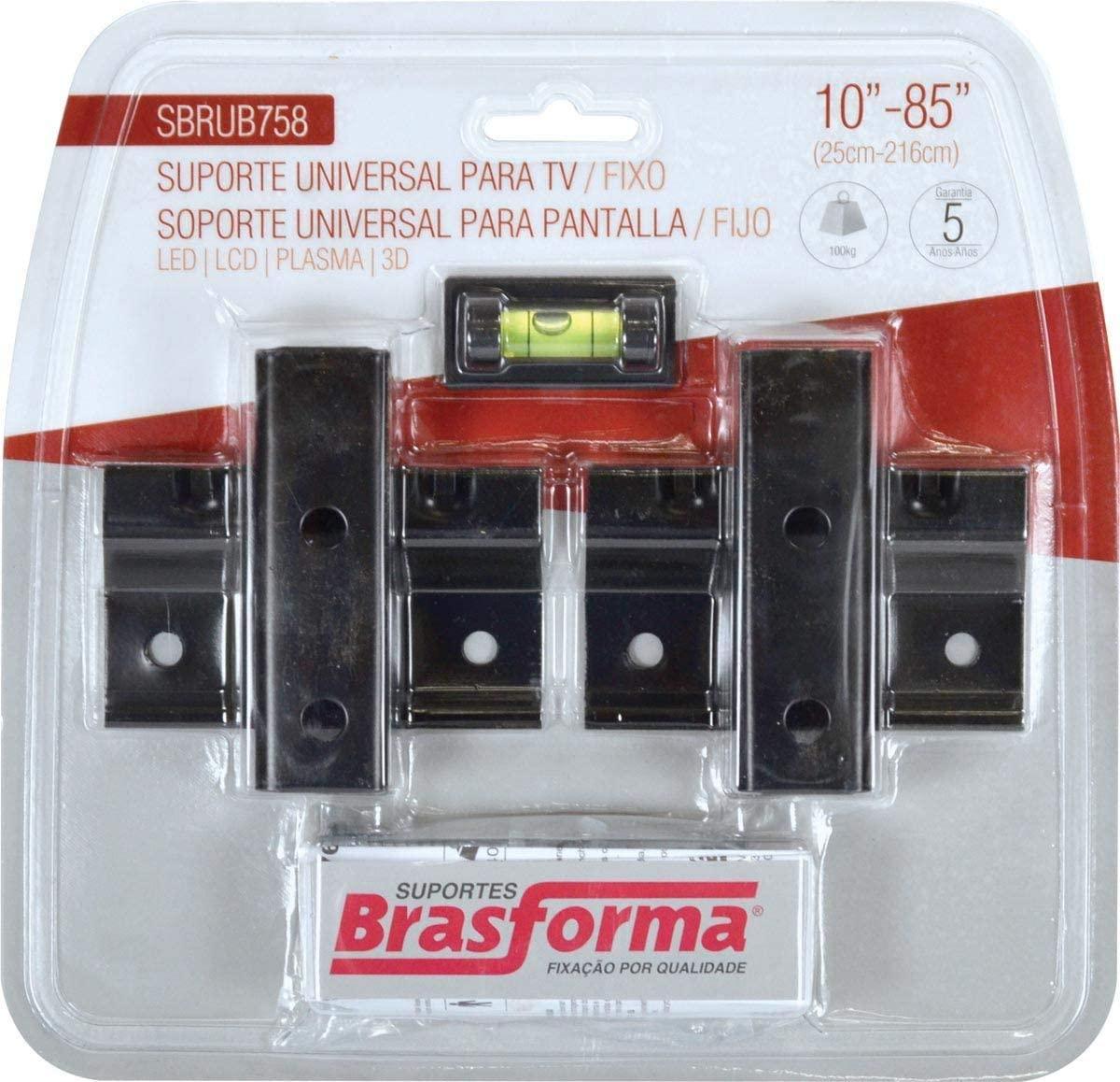 SUPORTE FIXO TV LCD/PLASMA 10'' A 85'' COM NIVEL SBRUB758