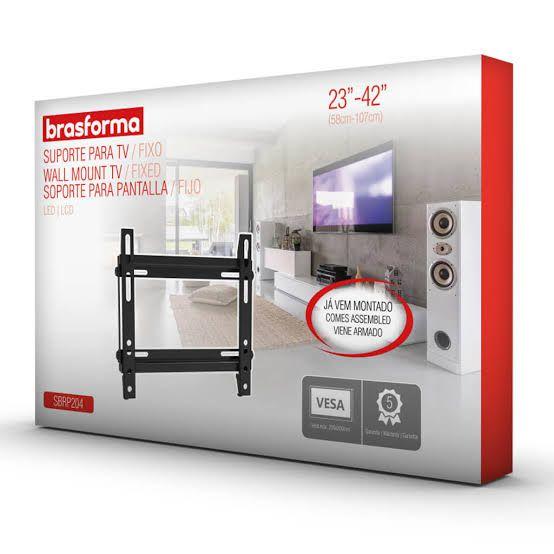 Suporte FIXO ULTRA SLIM para TV LED, LCD, Plasma, 3D e Smart TV de 23? a 42? ? Brasforma SBRP204