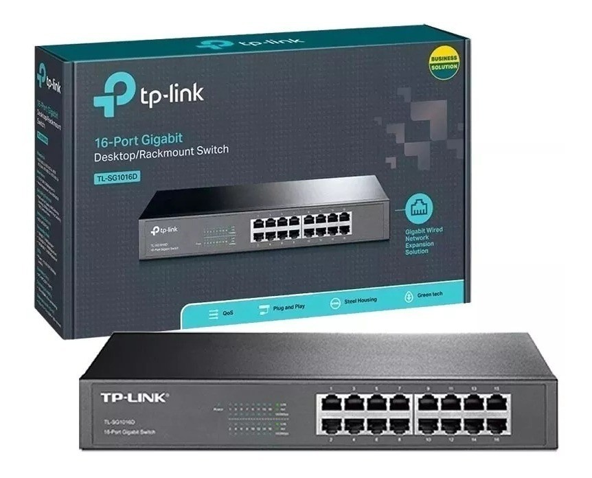 SWITCH 16 PORTAS GIGABIT P/RACK TL-SG1016D TP-LINK@